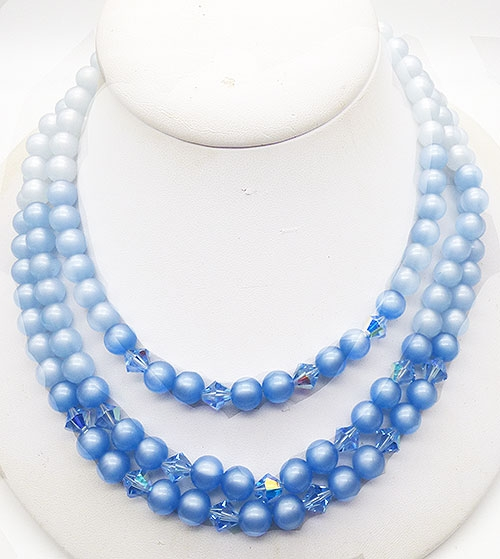 Newly Added Blue Moonglow Lucite Bead Triple Necklace