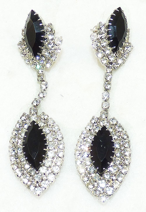 Newly Added Clear and Black Rhinestone Earrings