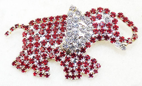 Figural Jewelry - Animals - Red Rhinestone Elephant Brooch