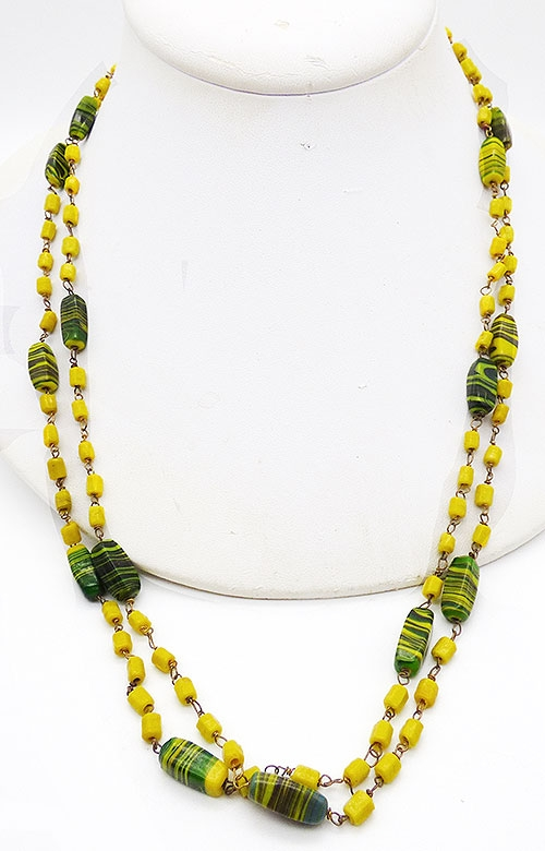 Newly Added Yellow and Green Art Glass Bead Necklace