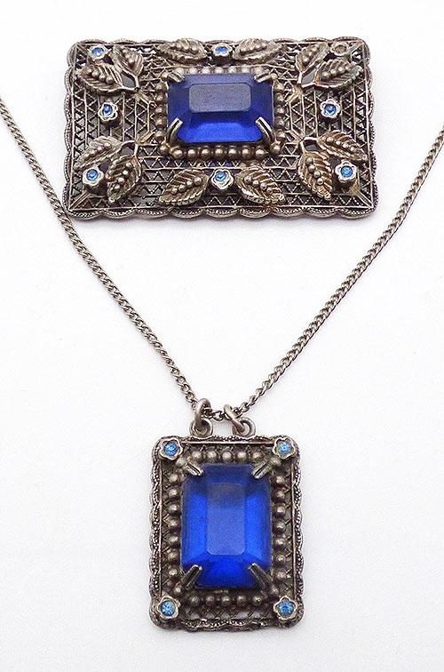 Sets & Parures - Czech Blue Glass Silver Filigree Demi