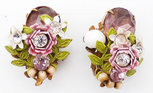 Newly Added Pink Rose White Flowers Amethyst Rhinestone Earrings