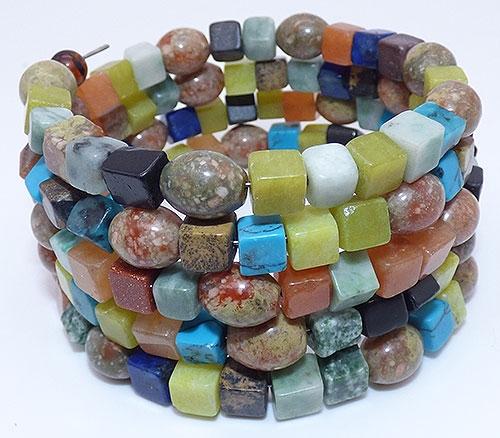 Semi-Precious Gems - Gemstone Beads Wrap Coil Bracelet