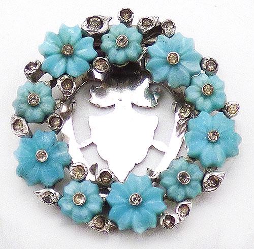 Newly Added Aqua Glass Flowers Dress Clip