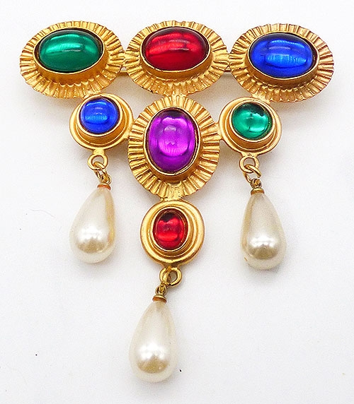 Newly Added Rainbow Glass Cabochon and Pearl Brooch