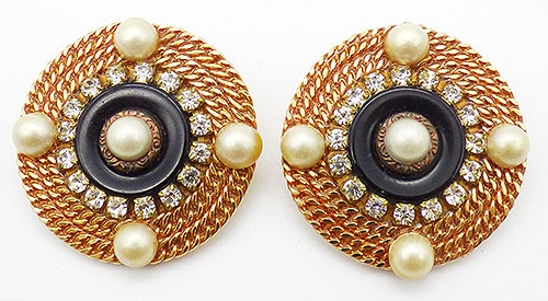 Newly Added Patti Horn Gold Chian Disc Earrings