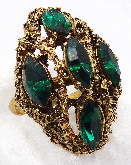 Newly Added Vogue Green Navette Rhinestone Ring