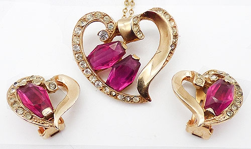 Sets & Parures - Retro Pink Heart Pendant Earrings Set