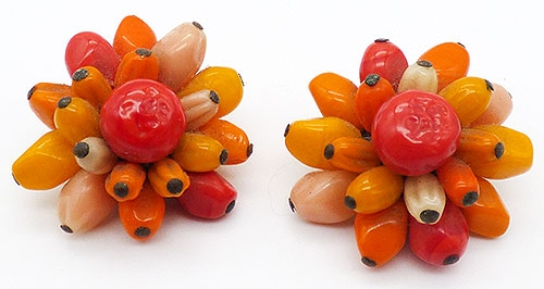 Autumn Fall Colors Jewelry - Japan Orange Yellow Glass Bead Earrings