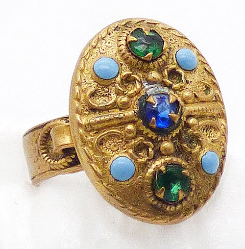 Rings - Etruscan Style Gold Tone Jeweled Ring