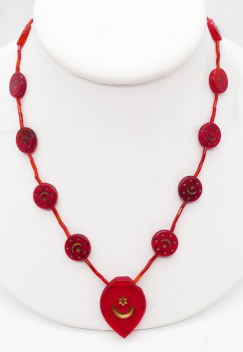 Atomic & Celestial - Art Deco Czech Red Glass Bead Necklace