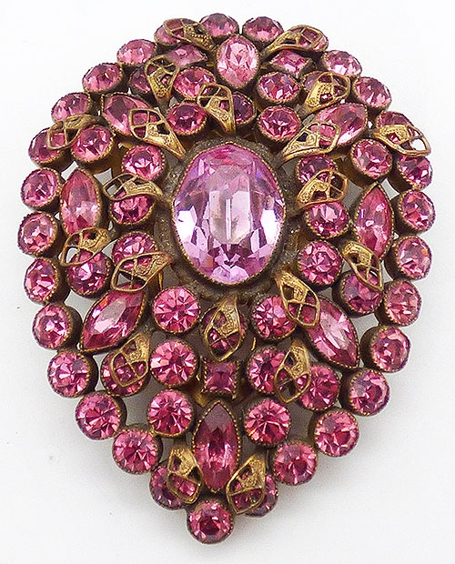 Newly Added Czech Pink Rhinestone Dress Clip