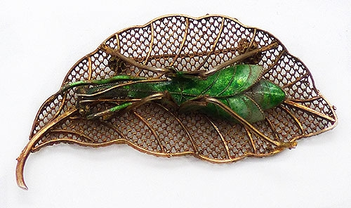 China - Chinese Export Cloisonne Grasshopper Brooch