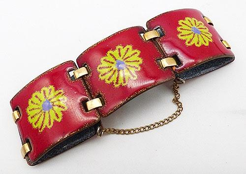 Bracelets - Red Enamel Copper Panel Bracelet