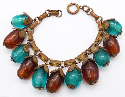 Bracelets - Turquoise and Amber Glass Drop Charm Bracelet
