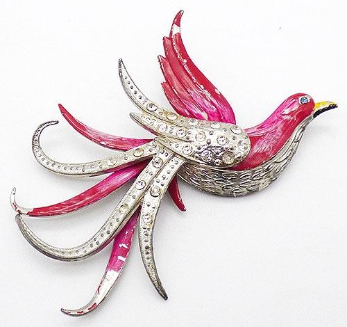 Figural Jewelry - Birds & Fish - Pot Metal Enamel Bird Brooch