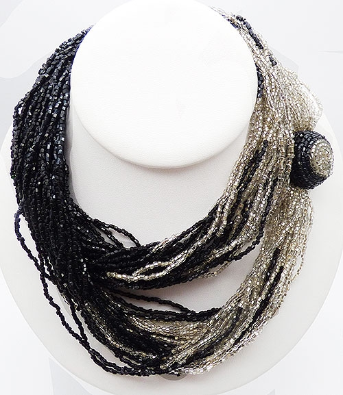 Newly Added Black and Silver Bead Torsade Necklace