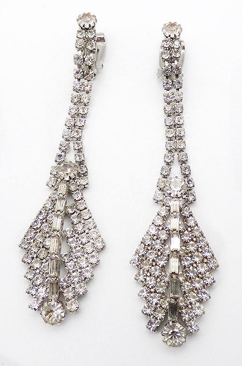 Bridal, Wedding, Special Occasion - Clear Rhinestone Shoulder Duster Earrings
