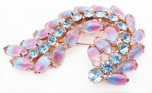 Newly Added Pink and Blue Givré Glass Curl Brooch