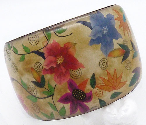 Florals - Wide Brass and Wildflowers Bangle Bracelet