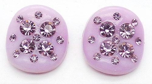 Earrings - Lavender Thermoset Plastic Rhinestone Earring