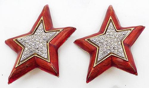 Atomic & Celestial - Red Enamel Clear Rhinestone Star Earrings