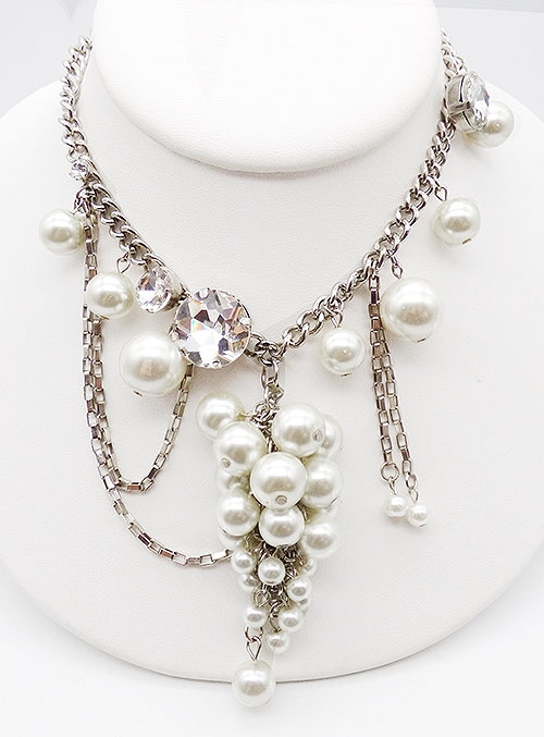 Misc. Signed S-Z - St. John Drippy Pearls Asymmetrical Necklace