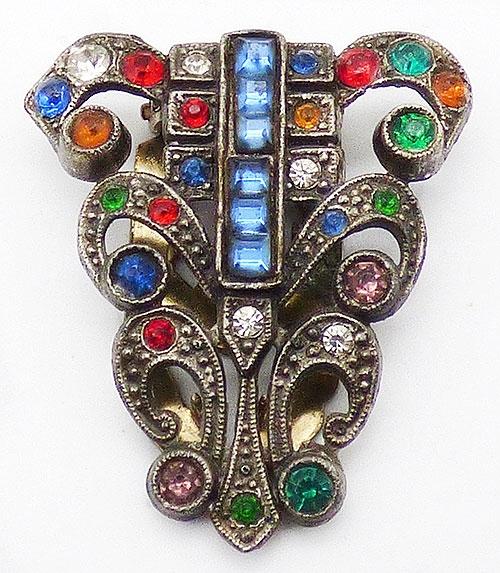 Art Deco - Art Deco Rhinestone Jewels Dress Clip