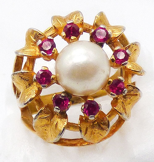 Newly Added Gold Please Simulated Pearl Cocktail Ring