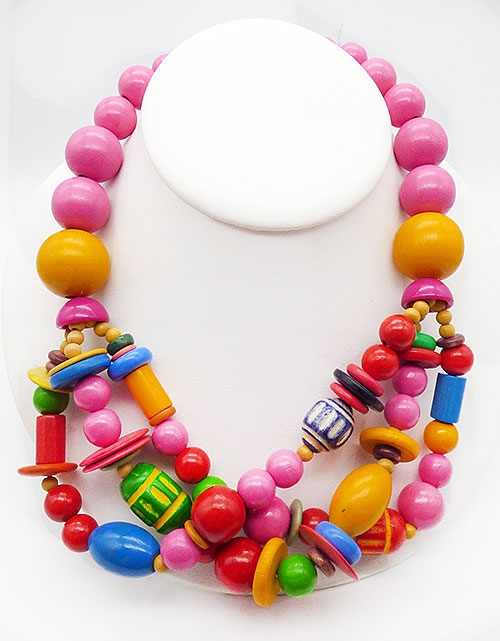 Newly Added Colorful Wooden Beads Twist Necklace
