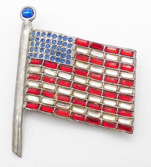 Newly Added Pot Metal Rhinestone American Flag Brooch