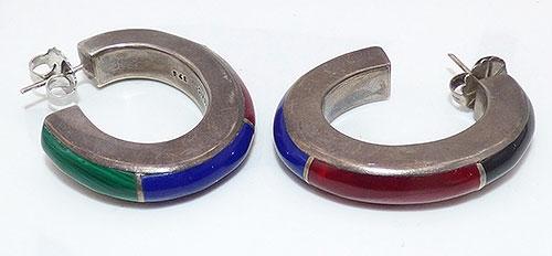 Earrings - Mexican Sterling Inlaid Stone Hoop Earrings