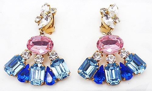 Newly Added Pastel Rhinestone Fan Statement Earrings