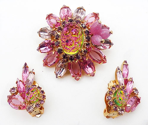 DeLizza & Elster/Juliana - Juliana Pink and Rainbow Geode Brooch Set
