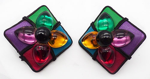 Earrings - Leather and Glass Cabochon Earrings
