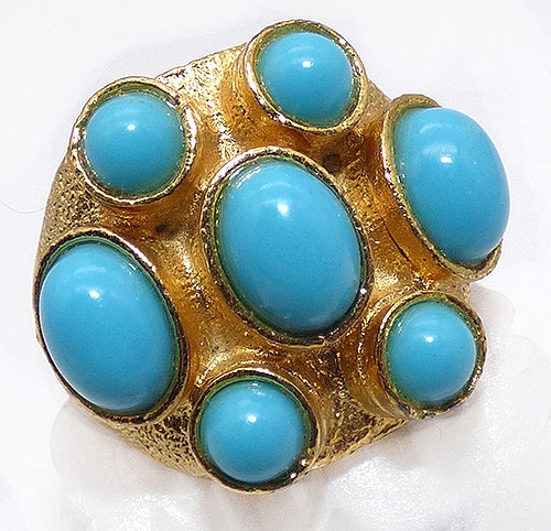 Rings - Turquoise Glass Cabochon Costume Ring
