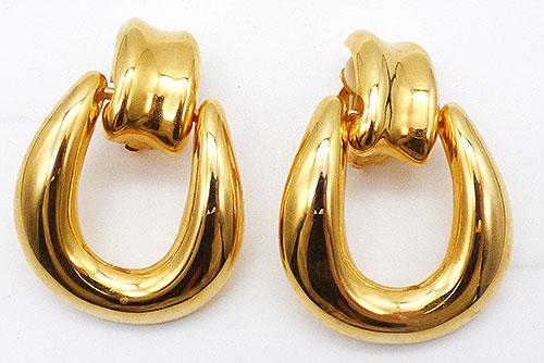 Earrings - Giant Gold Tone Door Knocker Earrings