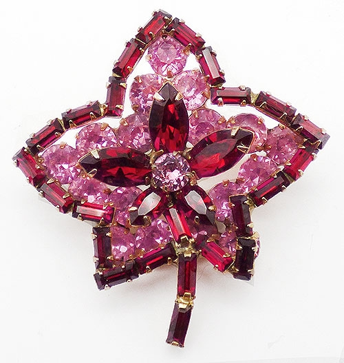 Newly Added Red and Pink Rhinestone Leaf Brooch