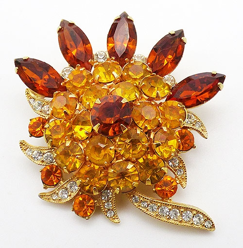 Brooches - Eisenberg Ice Topaz and Amber Brooch