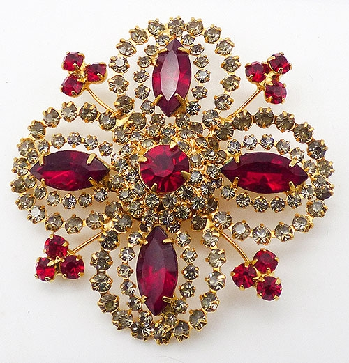 Newly Added Red and Gray Rhinestones Brooch