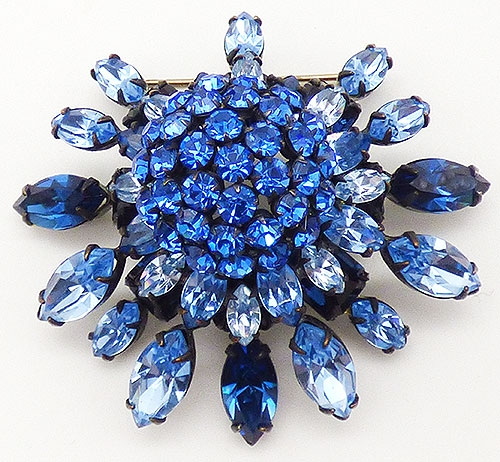 Brooches - Schreiner Domed Blue Rhinestone Brooch