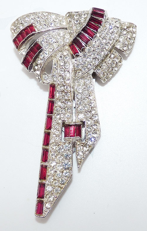 Dress & Fur Clips - Art Deco Rhinestone Bow Dress Clip