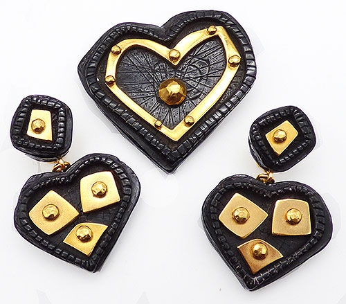 Hearts - Christian LaCroix Black Heart Brooch Set