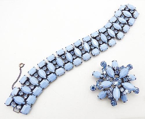 Schreiner - Schreiner Blue Milk Glass Brooch Bracelet Demi