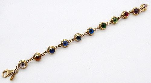 Newly Added 14K Gold Rainbow Glass Evil Eye Bracelet