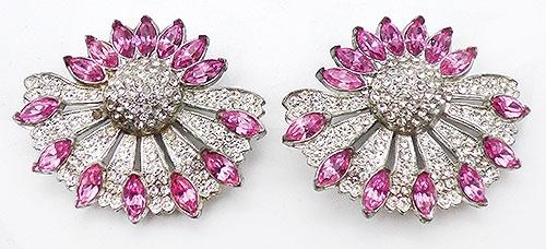 Newly Added Pink Navette Clear Rhinestone Statement Earrings