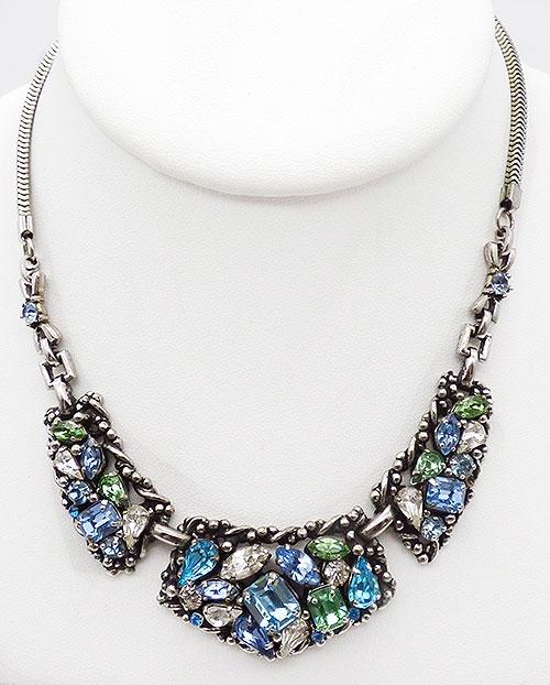 Newly Added Barclay Aqua Blue Green Rhinestone Necklace