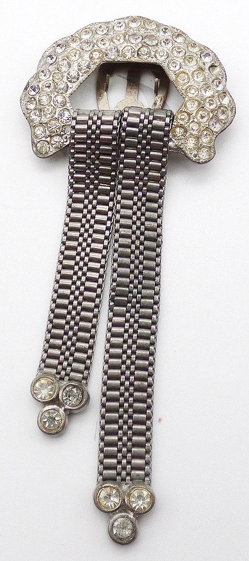 Dress & Fur Clips - Pot Metal Rhinestone Buckle Dress Clip