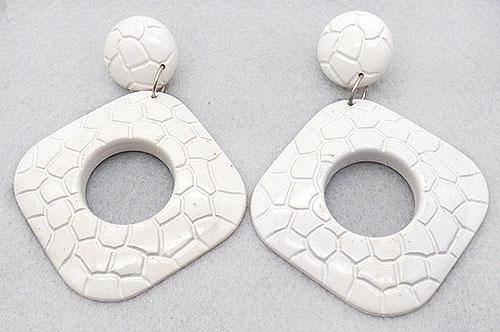 Earrings - White Plastic Square Hoop Statement Earrings