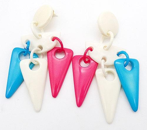 Earrings - Pink Turquoise White Plastic Trangles Earrings